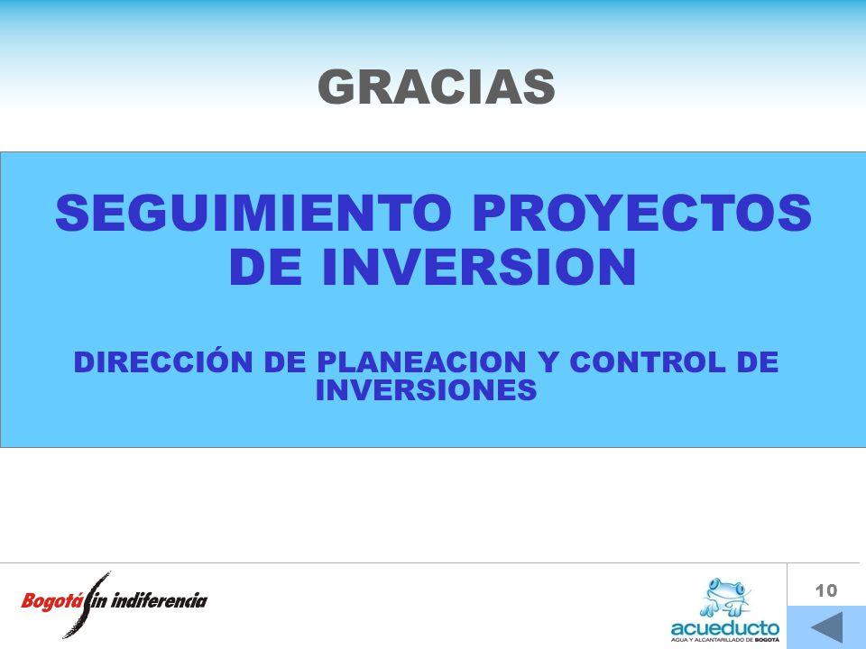 SEGUIMIENTO PROYECTOS DE INVERSION