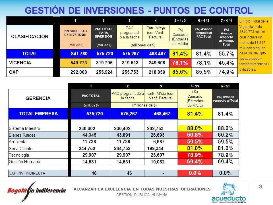 GESTIÓN DE INVERSIONES - PUNTOS DE CONTROL