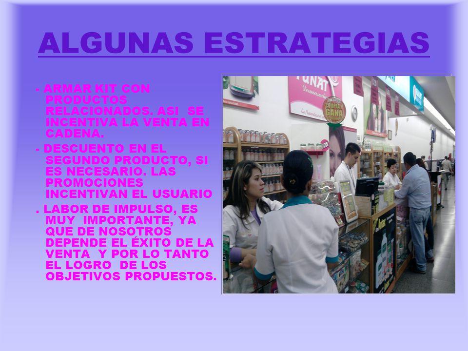 ALGUNAS ESTRATEGIAS - ARMAR KIT CON PRODUCTOS RELACIONADOS. ASI SE INCENTIVA LA VENTA EN CADENA.