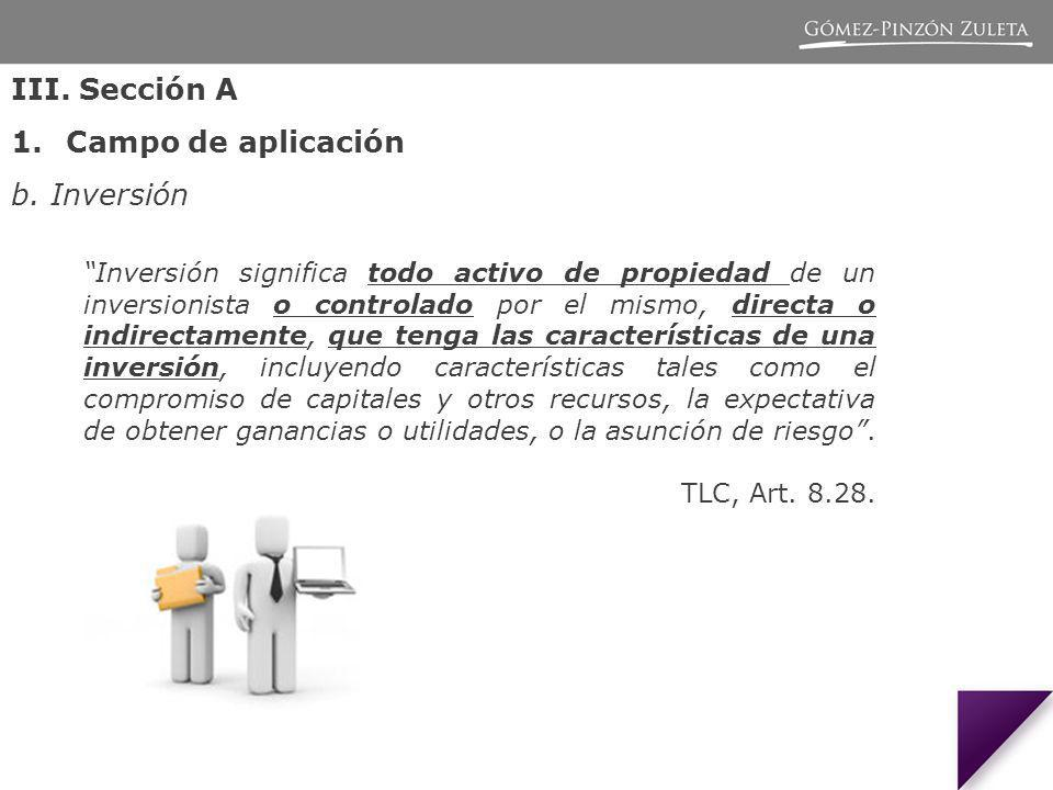 III. Sección A Campo de aplicación b. Inversión