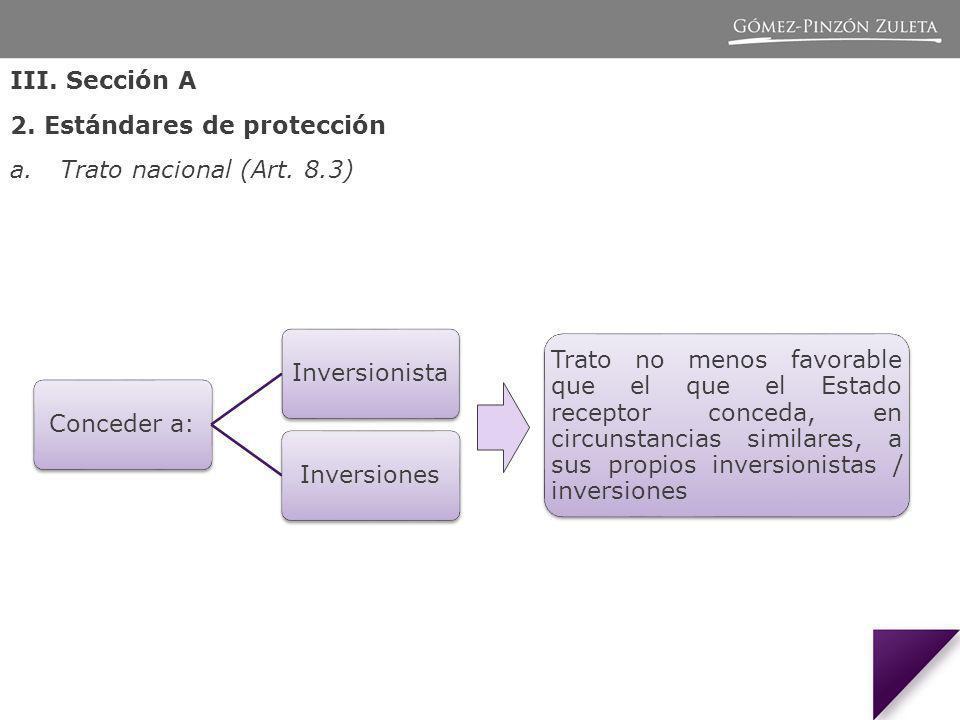 III. Sección A 2. Estándares de protección. Trato nacional (Art. 8.3)