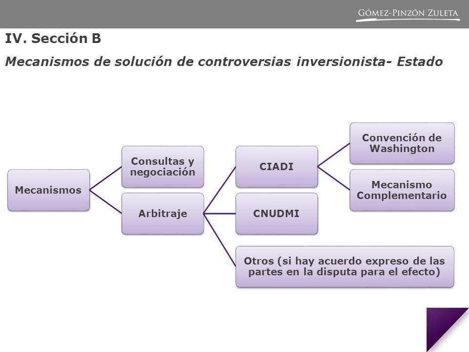 IV. Sección B Mecanismos de solución de controversias inversionista- Estado. Mecanismos. Consultas y negociación.