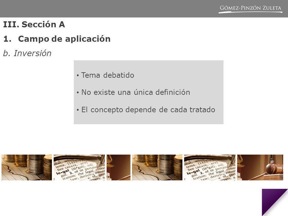 III. Sección A Campo de aplicación b. Inversión Tema debatido