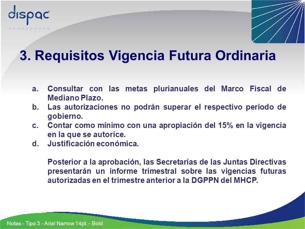 3. Requisitos Vigencia Futura Ordinaria