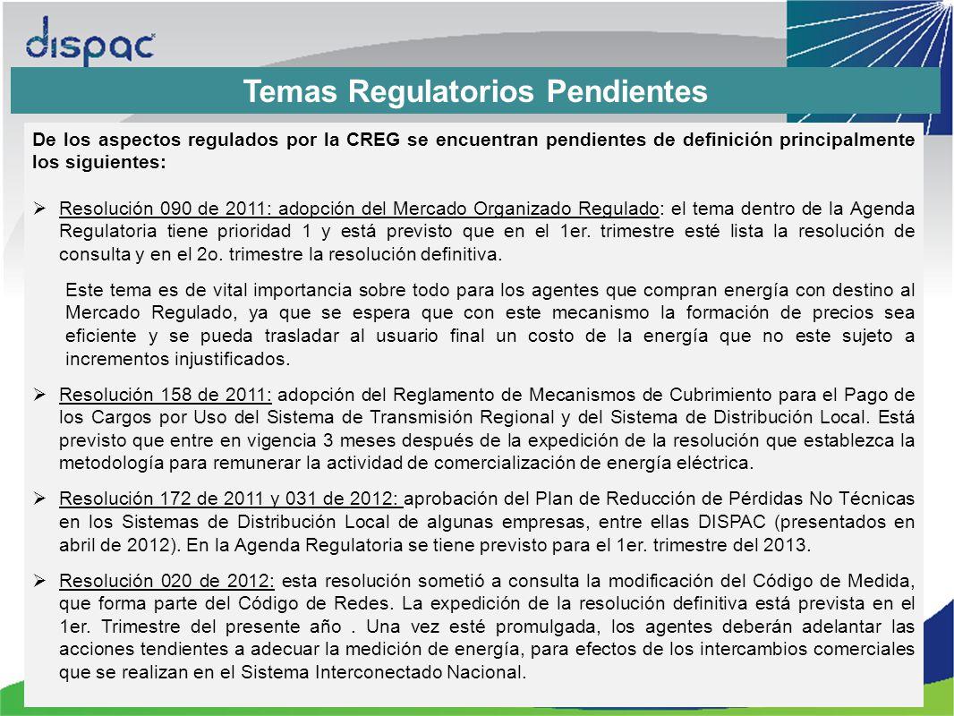 Temas Regulatorios Pendientes
