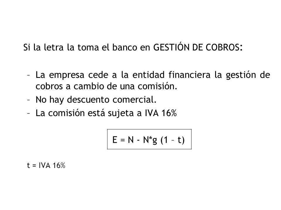 Si la letra la toma el banco en GESTIÓN DE COBROS: