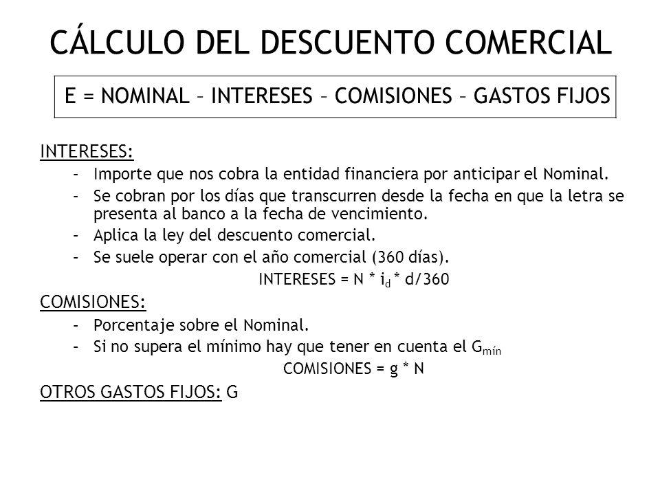 CÁLCULO DEL DESCUENTO COMERCIAL