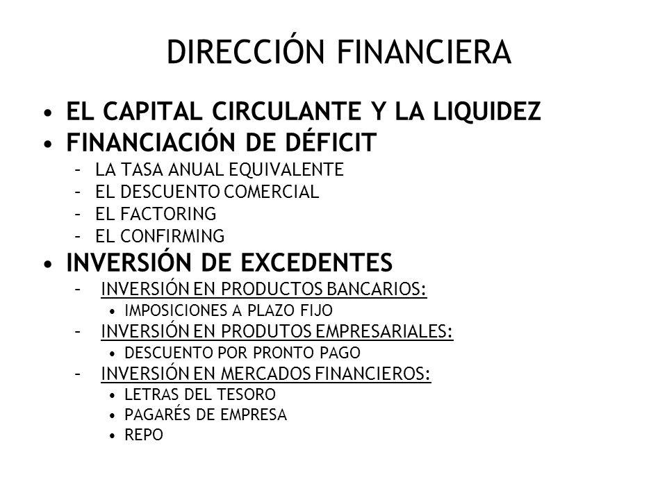 DIRECCIÓN FINANCIERA EL CAPITAL CIRCULANTE Y LA LIQUIDEZ