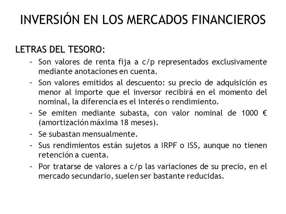 INVERSIÓN EN LOS MERCADOS FINANCIEROS