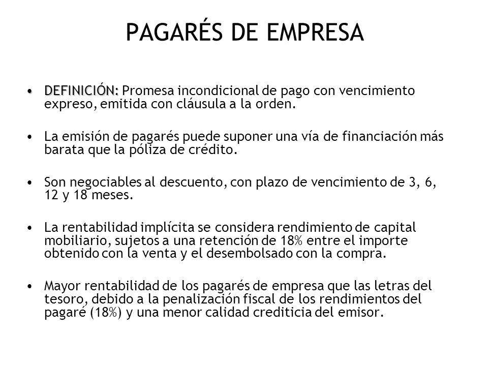 PAGARÉS DE EMPRESA DEFINICIÓN: Promesa incondicional de pago con vencimiento expreso, emitida con cláusula a la orden.
