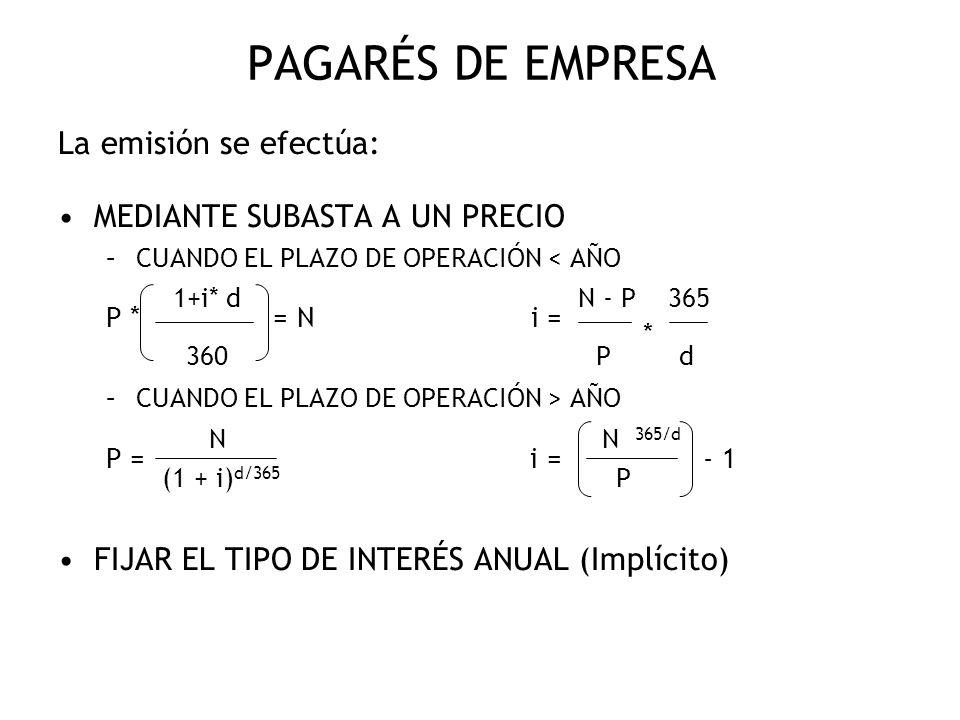 PAGARÉS DE EMPRESA P * 1+i* d = N i = N - P 365 P = N i = N 365/d - 1