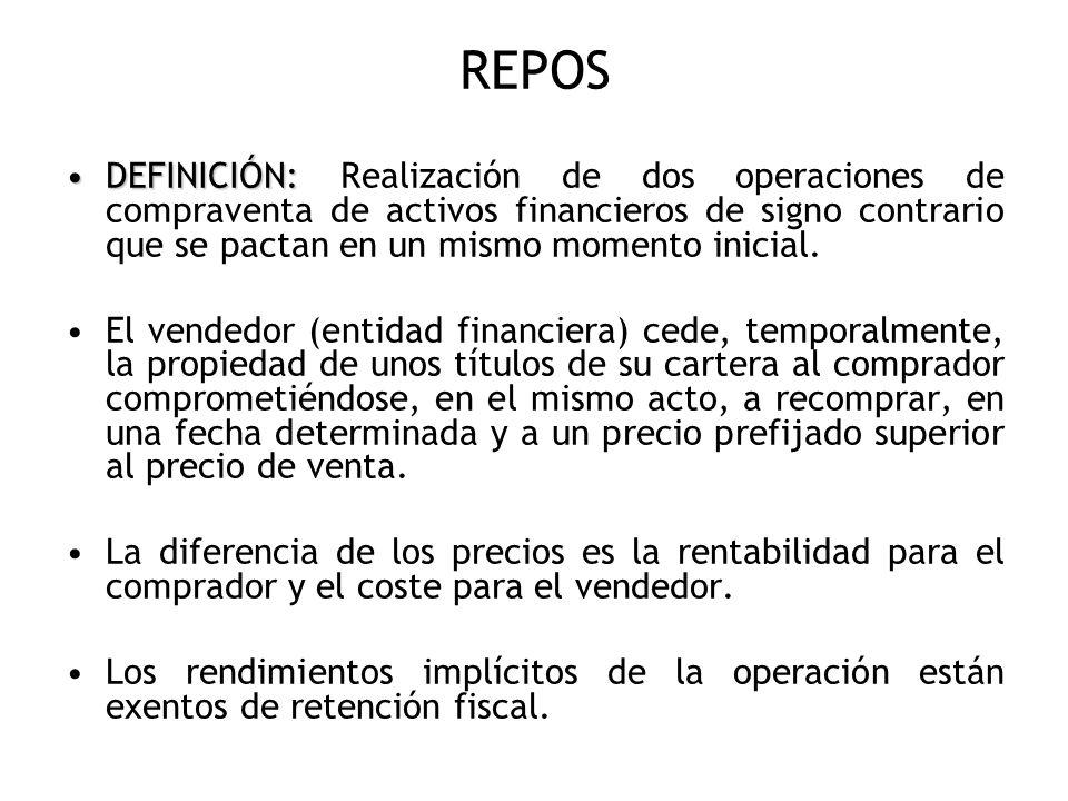 REPOS DEFINICIÓN: Realización de dos operaciones de compraventa de activos financieros de signo contrario que se pactan en un mismo momento inicial.