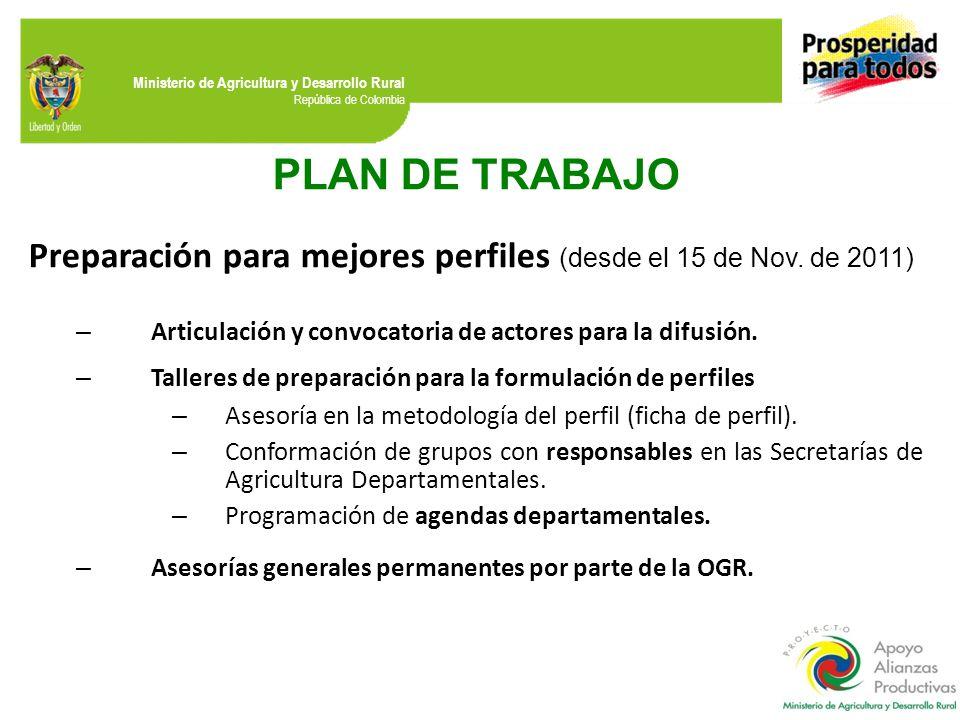 PLAN DE TRABAJO Preparación para mejores perfiles (desde el 15 de Nov. de 2011) Articulación y convocatoria de actores para la difusión.