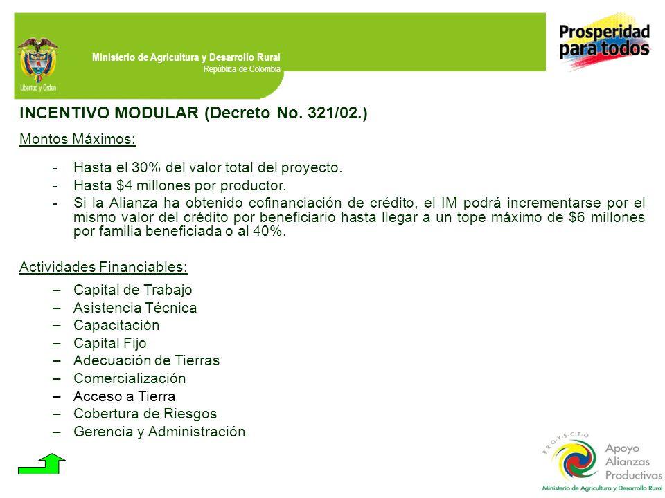 INCENTIVO MODULAR (Decreto No. 321/02.)