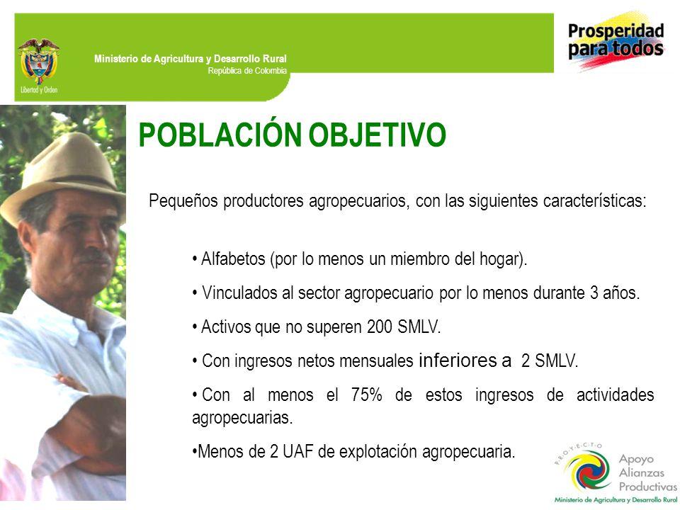 POBLACIÓN OBJETIVO Pequeños productores agropecuarios, con las siguientes características: Alfabetos (por lo menos un miembro del hogar).