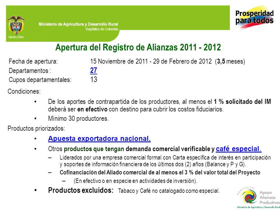 Apertura del Registro de Alianzas 2011 - 2012