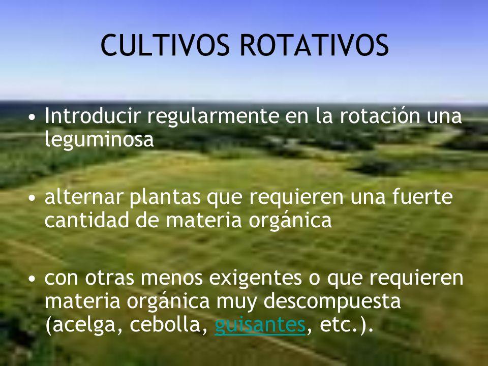 CULTIVOS ROTATIVOS Introducir regularmente en la rotación una leguminosa. alternar plantas que requieren una fuerte cantidad de materia orgánica.