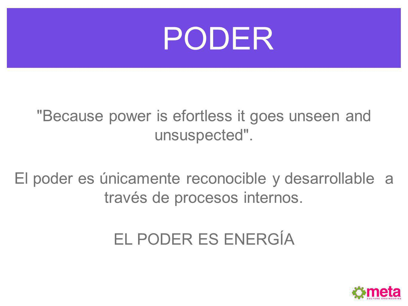 Because power is efortless it goes unseen and unsuspected .