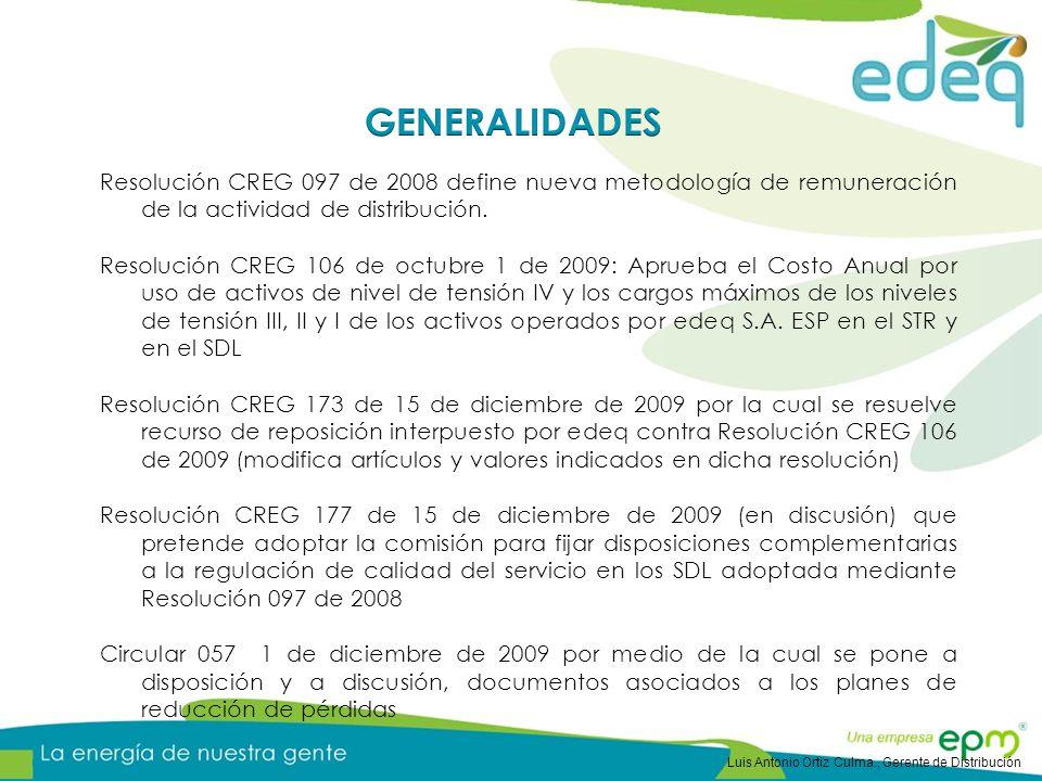 GENERALIDADES Resolución CREG 097 de 2008 define nueva metodología de remuneración de la actividad de distribución.