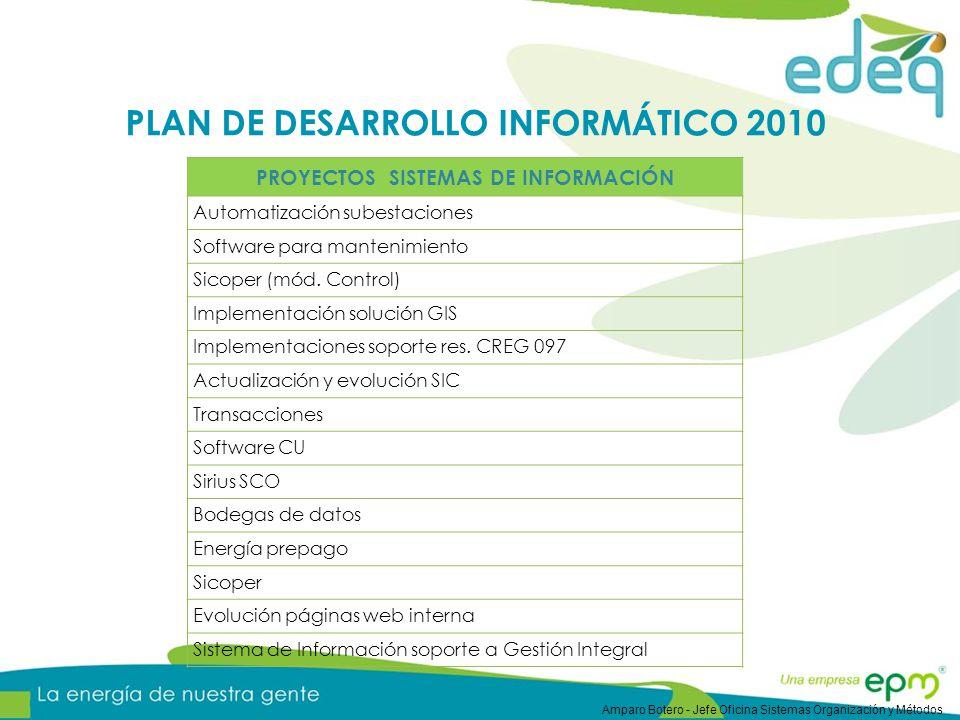 PLAN DE DESARROLLO INFORMÁTICO 2010 PROYECTOS SISTEMAS DE INFORMACIÓN