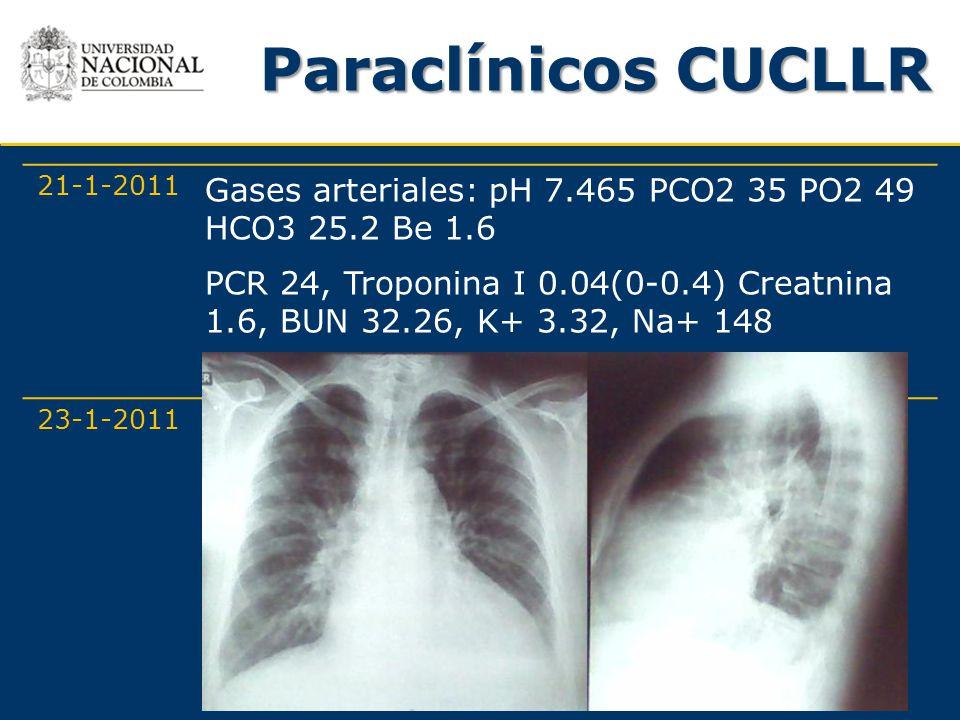 Paraclínicos CUCLLR 21-1-2011. Gases arteriales: pH 7.465 PCO2 35 PO2 49 HCO3 25.2 Be 1.6.