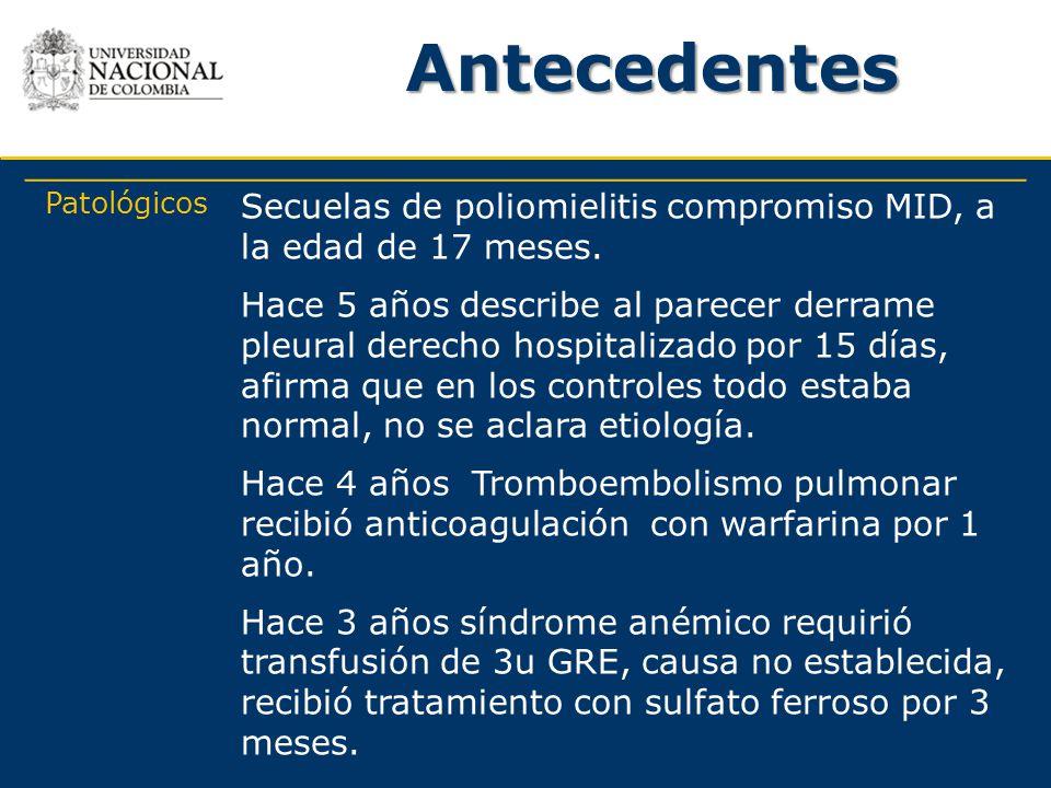 Antecedentes Patológicos. Secuelas de poliomielitis compromiso MID, a la edad de 17 meses.