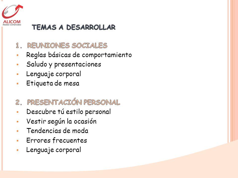 TEMAS A DESARROLLAR 1. REUNIONES SOCIALES. Reglas básicas de comportamiento. Saludo y presentaciones.