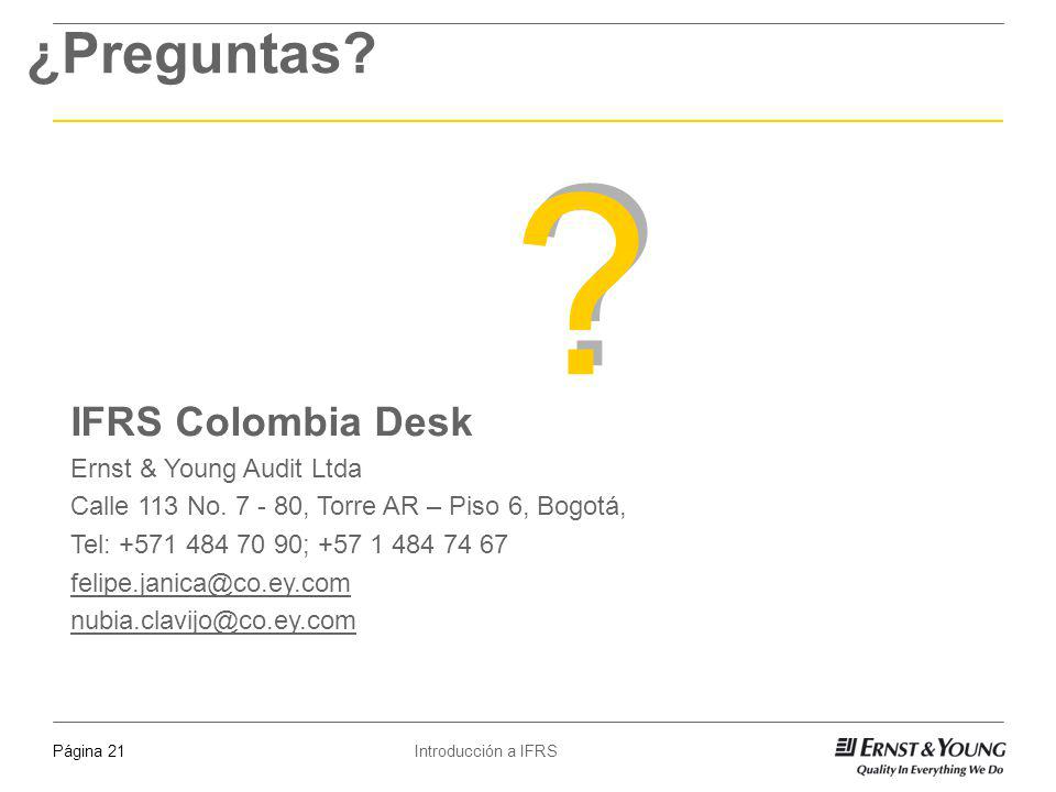 ¿Preguntas IFRS Colombia Desk 1 April 2017 Ernst & Young Audit Ltda
