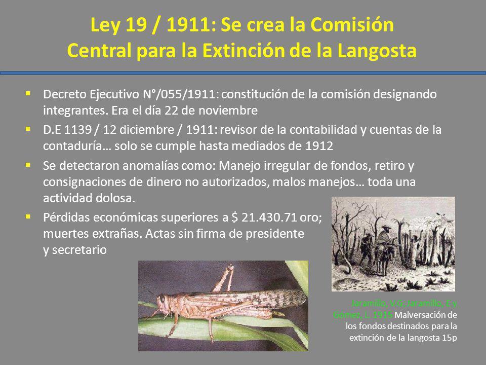 Ley 19 / 1911: Se crea la Comisión Central para la Extinción de la Langosta