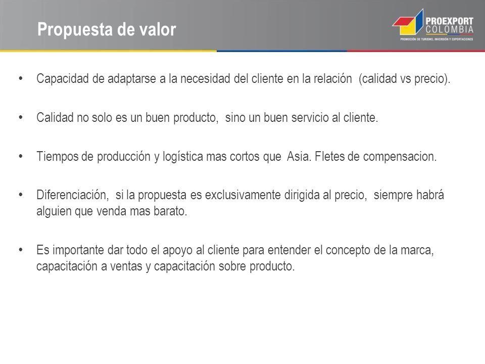 Propuesta de valor Capacidad de adaptarse a la necesidad del cliente en la relación (calidad vs precio).