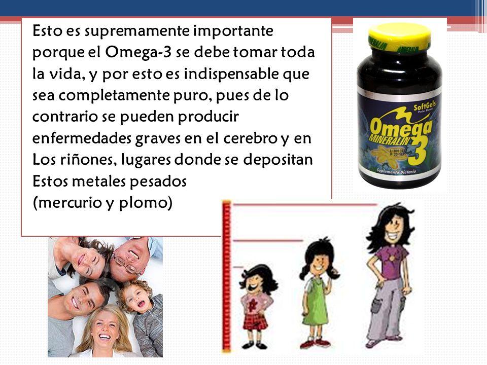 Esto es supremamente importante porque el Omega-3 se debe tomar toda la vida, y por esto es indispensable que sea completamente puro, pues de lo contrario se pueden producir enfermedades graves en el cerebro y en Los riñones, lugares donde se depositan Estos metales pesados (mercurio y plomo)