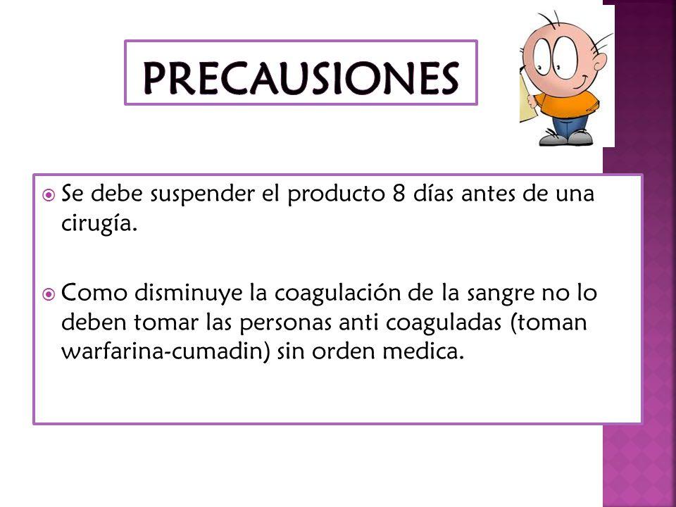 PRECAUSIONES Se debe suspender el producto 8 días antes de una cirugía.