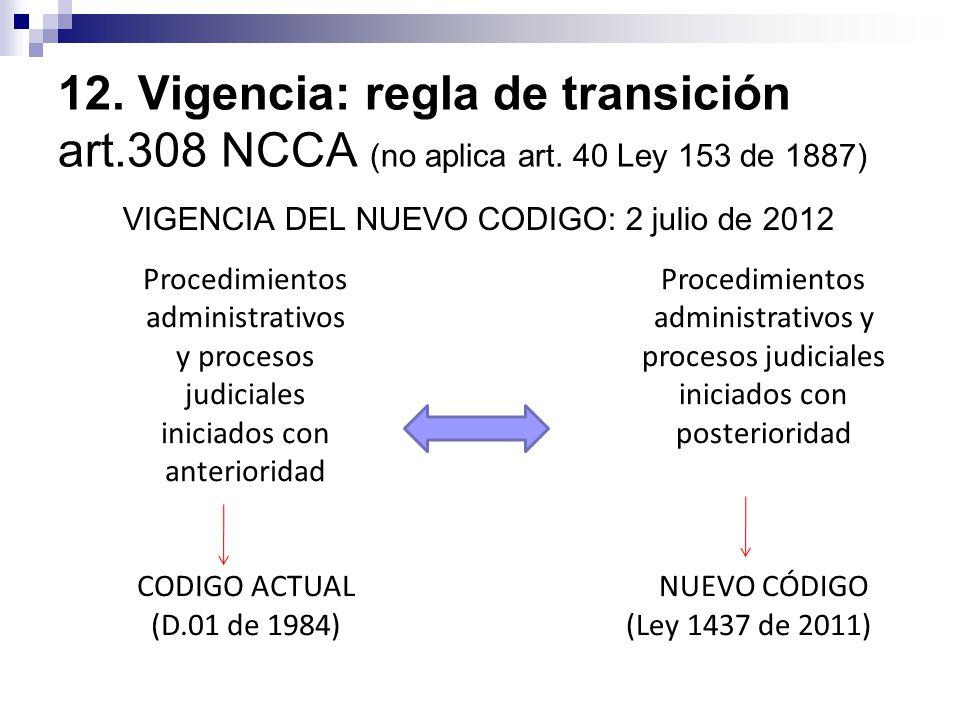 12. Vigencia: regla de transición art. 308 NCCA (no aplica art