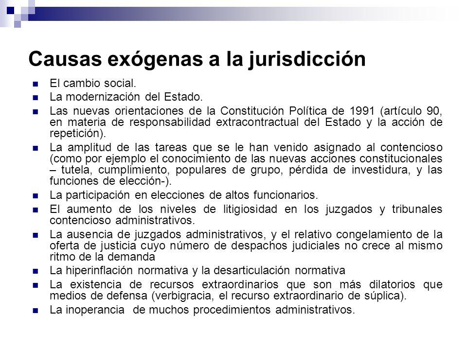 Causas exógenas a la jurisdicción