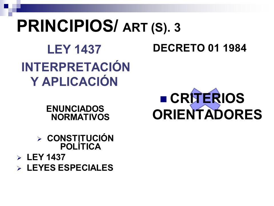 PRINCIPIOS/ ART (S). 3 CRITERIOS ORIENTADORES LEY 1437