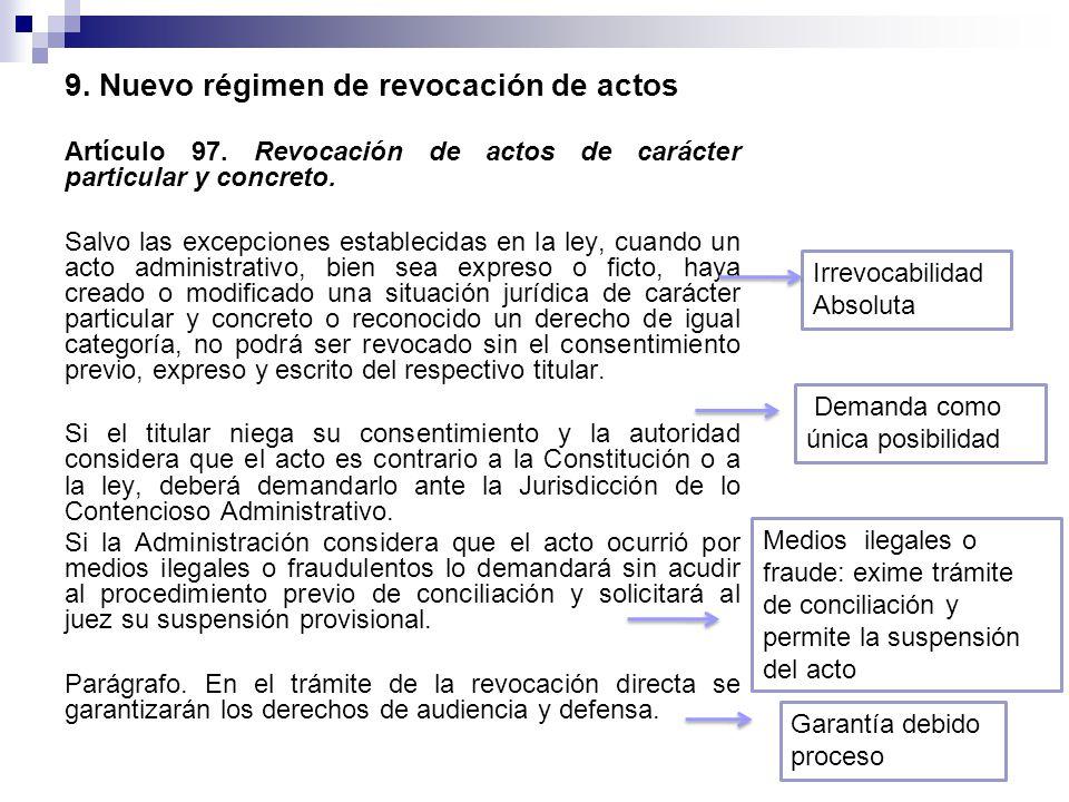 9. Nuevo régimen de revocación de actos