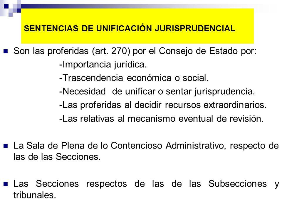 SENTENCIAS DE UNIFICACIÓN JURISPRUDENCIAL