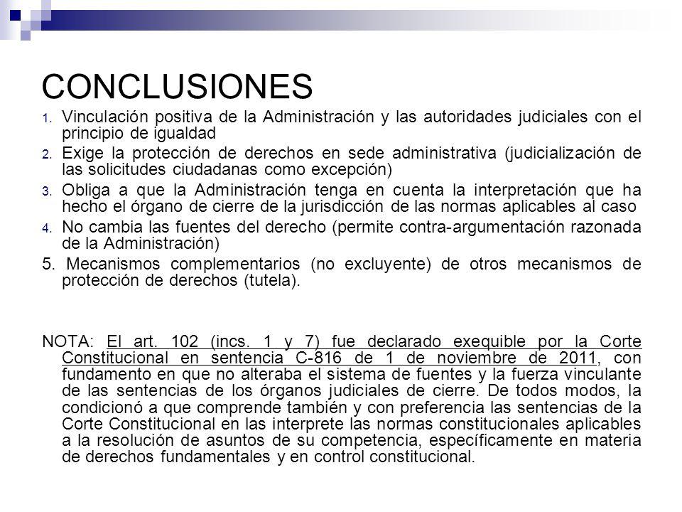 CONCLUSIONES Vinculación positiva de la Administración y las autoridades judiciales con el principio de igualdad.