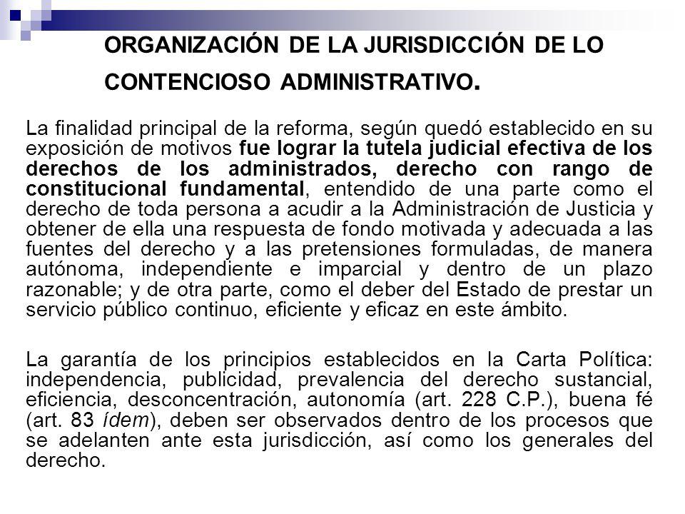 ORGANIZACIÓN DE LA JURISDICCIÓN DE LO CONTENCIOSO ADMINISTRATIVO.