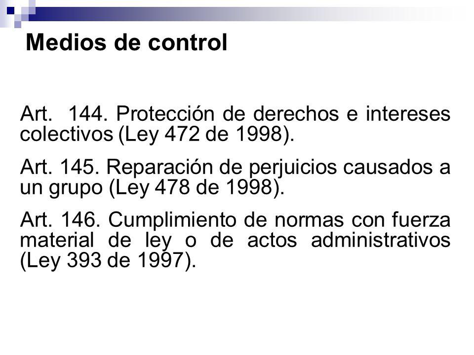 Medios de control Art. 144. Protección de derechos e intereses colectivos (Ley 472 de 1998).