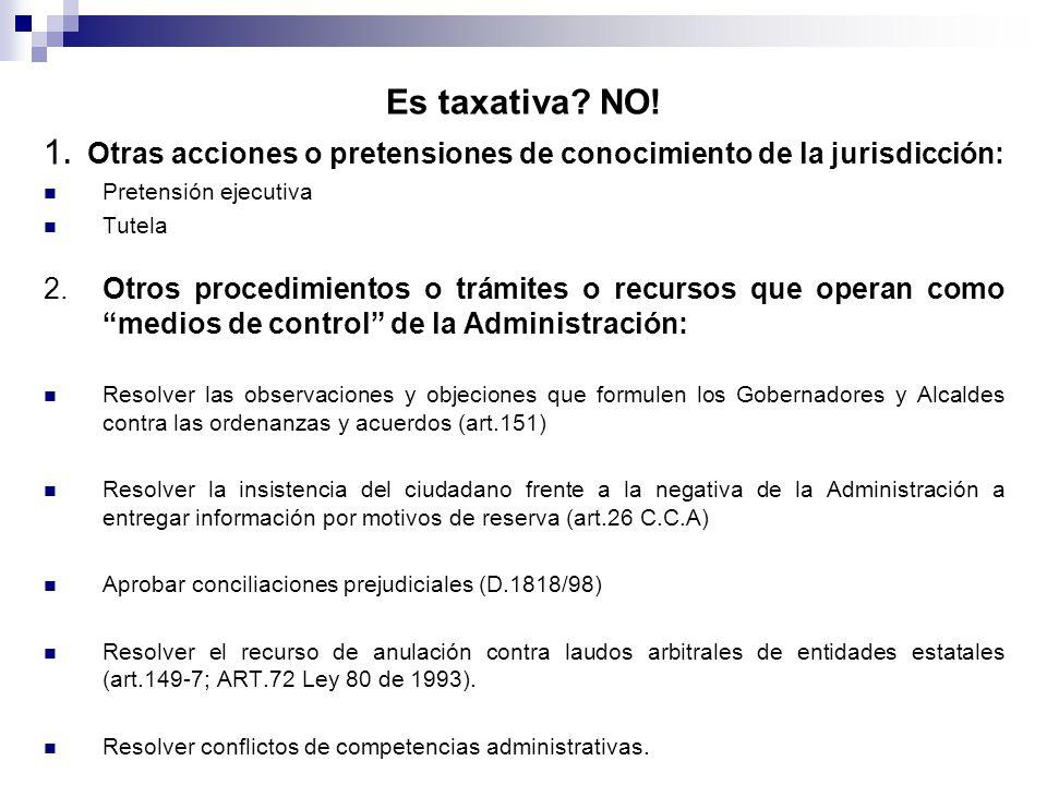 1. Otras acciones o pretensiones de conocimiento de la jurisdicción: