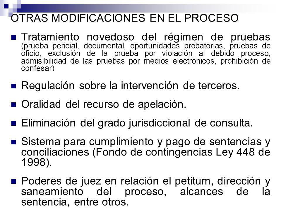 OTRAS MODIFICACIONES EN EL PROCESO