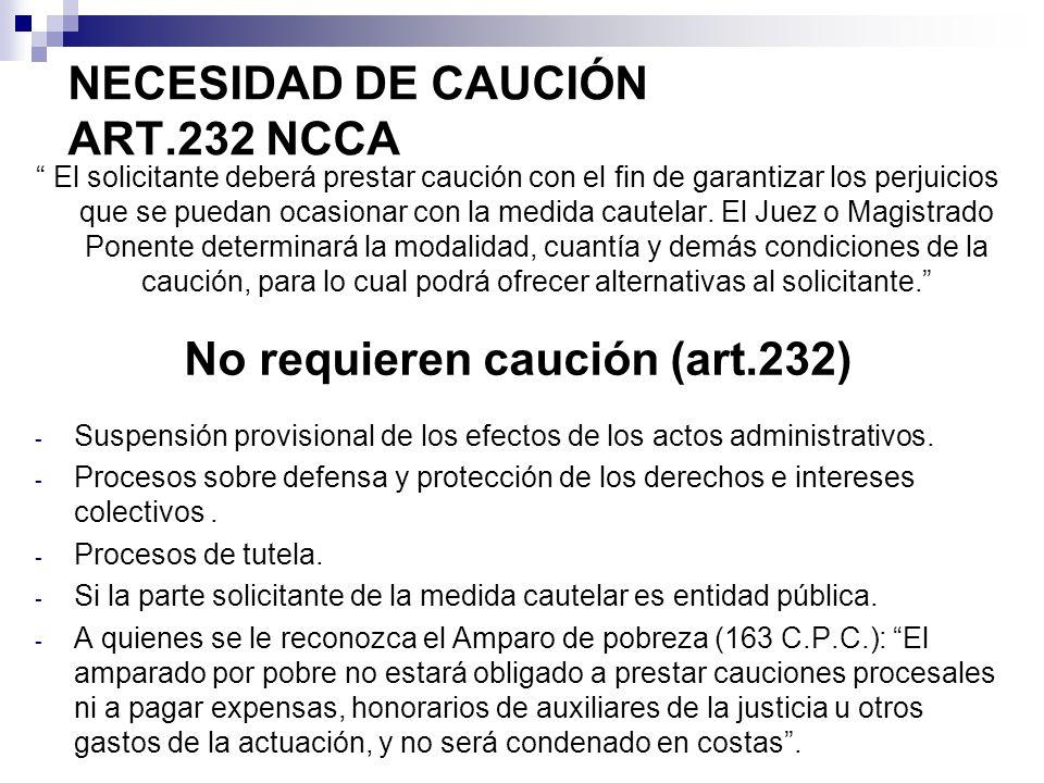 NECESIDAD DE CAUCIÓN ART.232 NCCA