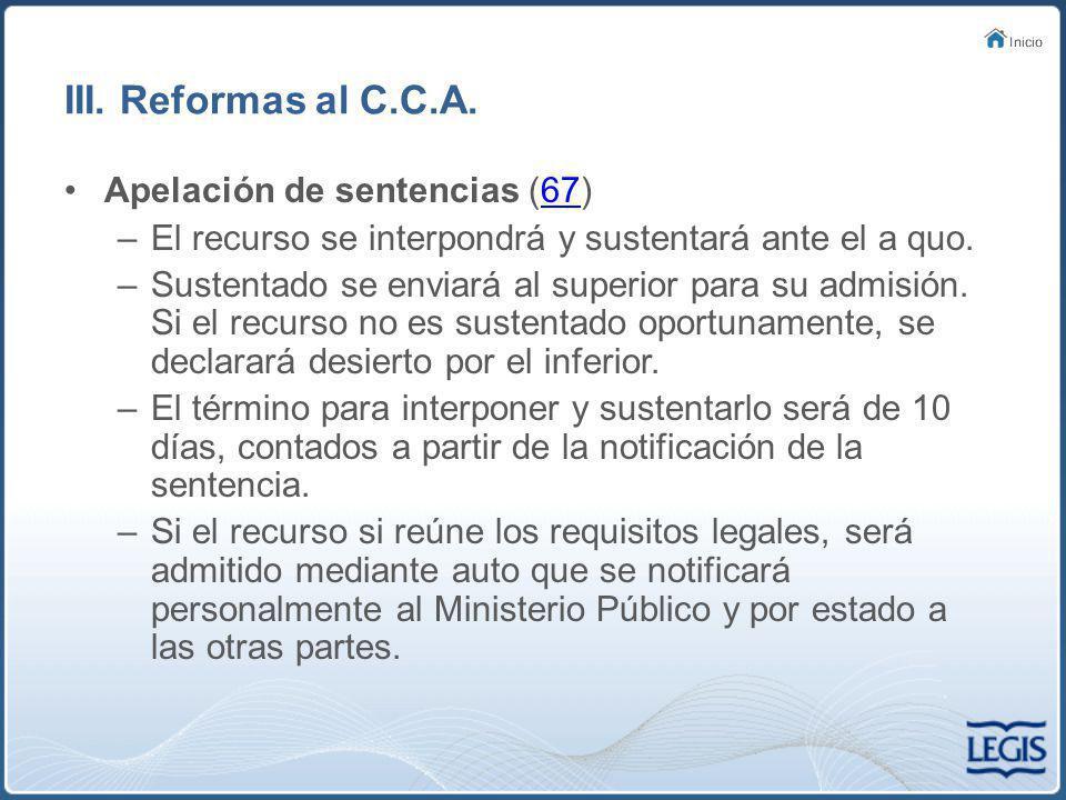 III. Reformas al C.C.A. Apelación de sentencias (67)