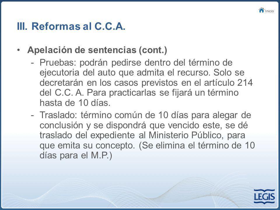 III. Reformas al C.C.A. Apelación de sentencias (cont.)