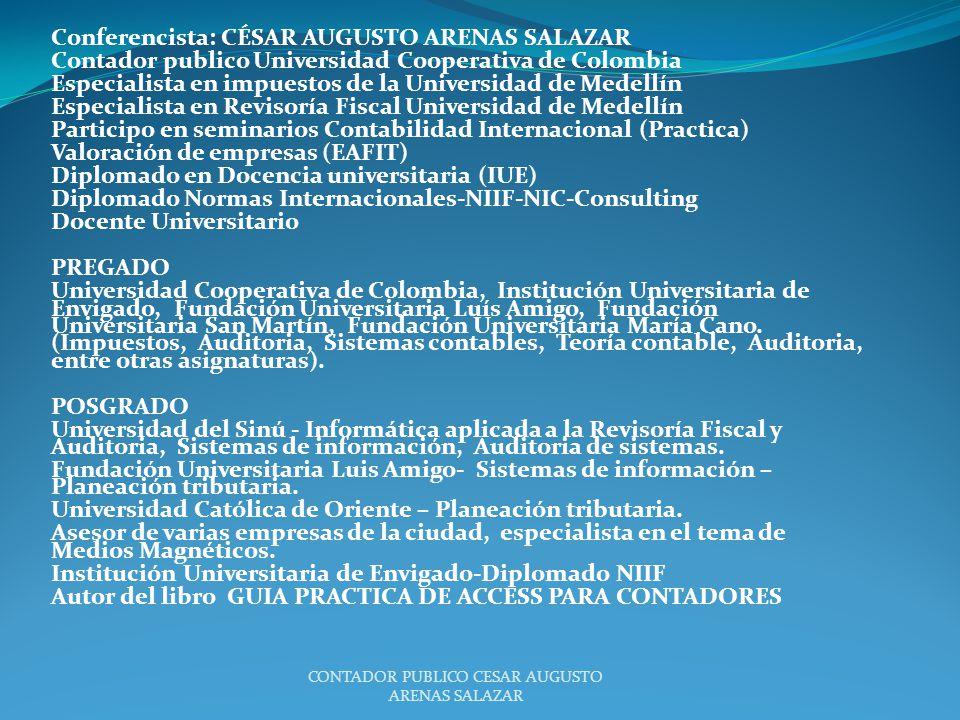 CONTADOR PUBLICO CESAR AUGUSTO ARENAS SALAZAR