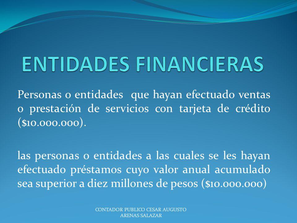 ENTIDADES FINANCIERAS