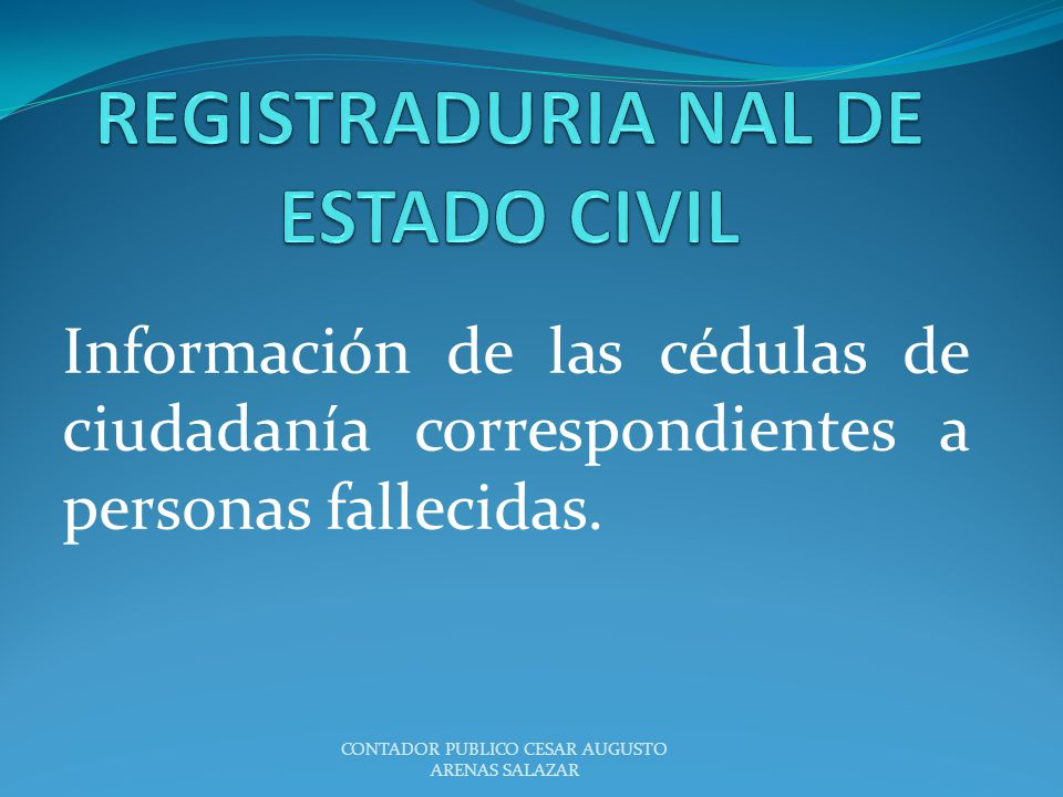 REGISTRADURIA NAL DE ESTADO CIVIL