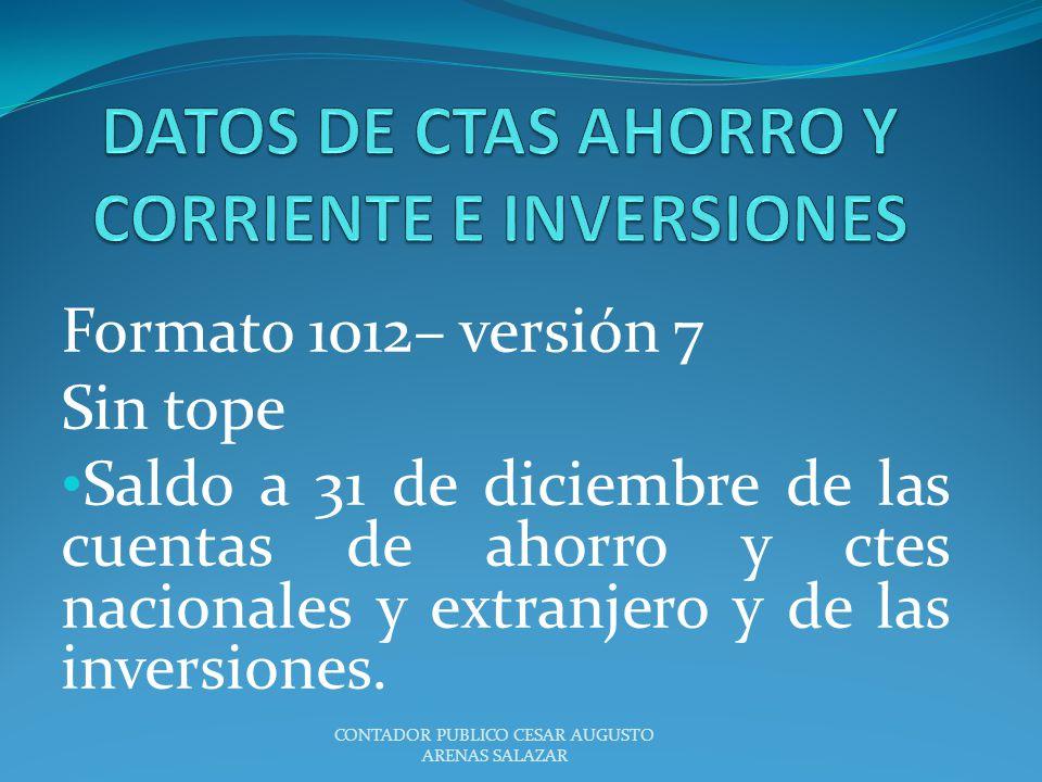 DATOS DE CTAS AHORRO Y CORRIENTE E INVERSIONES