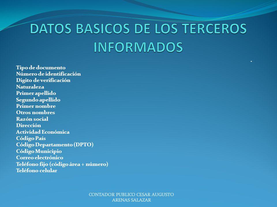 DATOS BASICOS DE LOS TERCEROS INFORMADOS